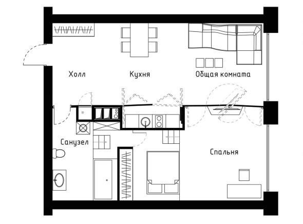 Proyección arquitectónica del departamento